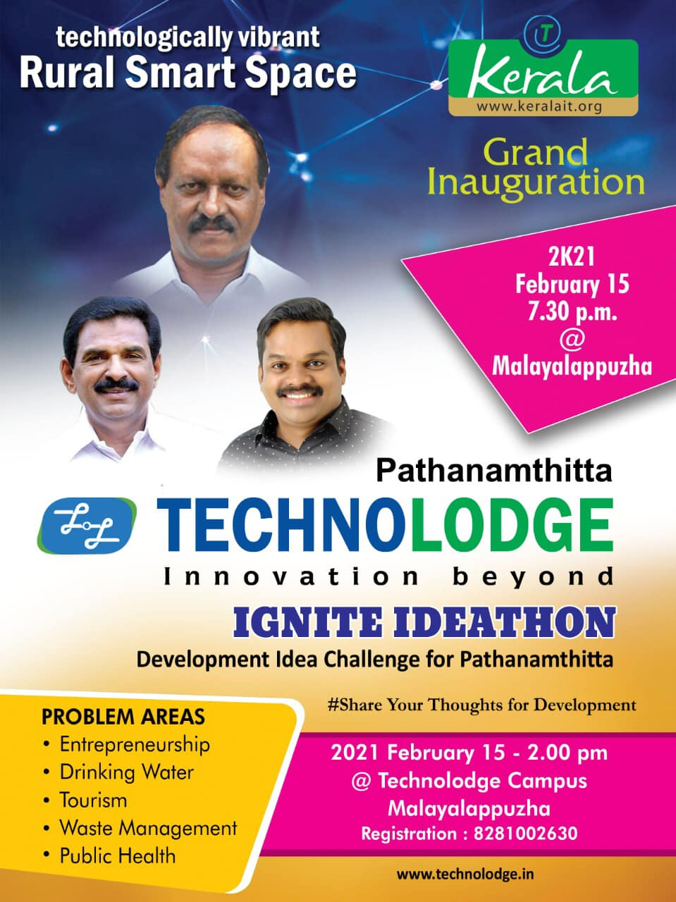Grand Inaguguration Pathanamthitta TechnoLodge on 2021 February 15, 7.30 pm @ Malayalappuzha